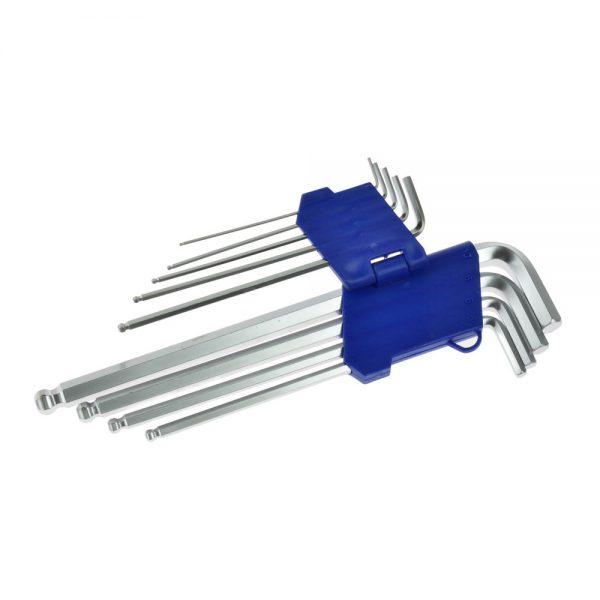 Set imbus ključeva 1,5 - 10 mm Garnitura imbus ključeva 1,5-10 mm, 9 komada. Karakteristike proizvoda: Ključevi od hrom-vanadijumskog čelika; Visoka otpornost na koroziju, oksidaciju i abraziju; Najduži ključ dužine 260 mm.